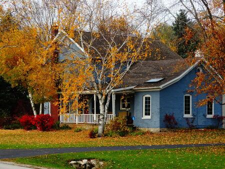 blue fun autumn house Editorial