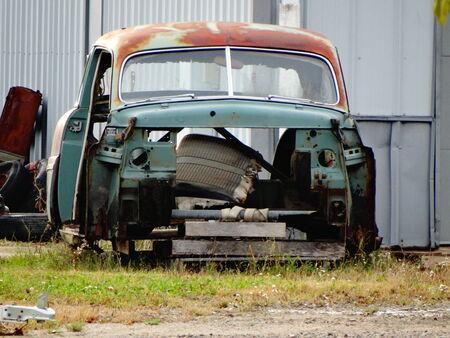 rusty car: green rusty car frame