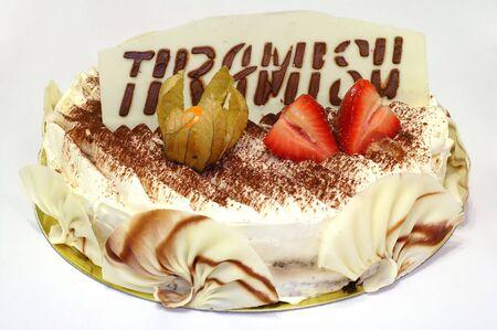 Delicious birthday tiramisu cake with special decoration photo