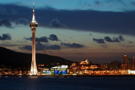 The evening of Macau Tower Convention and Entertainment Center Stock Photo - 779445