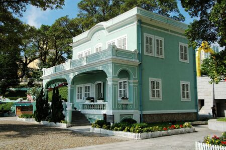 One of the colonial house in the Houses-Museum in Taipa Stock Photo