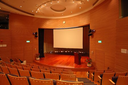 The interior of a theater, the stage and screen photo