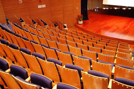 The interior of a theater, the seats and the stage Stock Photo