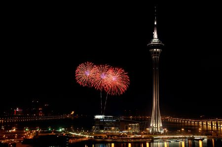 Celebration of New Year in Macau with fireworks beside the Tower Convention and Entertainment Center photo
