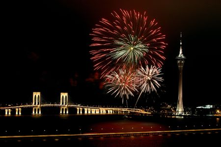 blowup: Celebration of New Year in Macau with fireworks beside the Tower Convention and Sai Van bridge