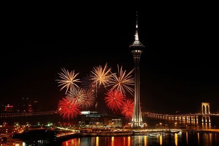 blowup: Celebration of New Year in Macau with fireworks beside the Tower Convention and Entertainment Center