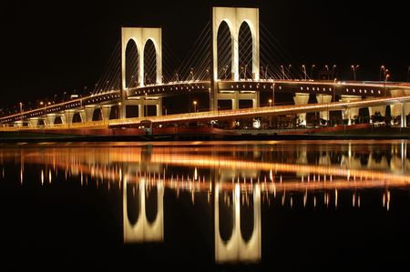 The night of Sai Van bridge in Macau photo