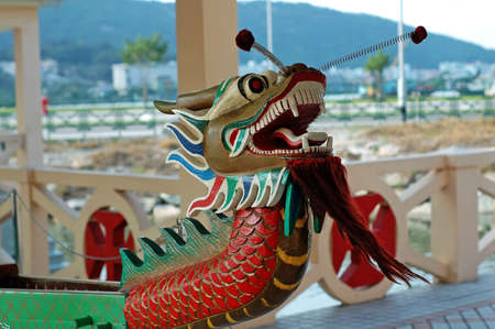 dragonboat: A close up shot of dragon boat