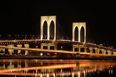 The night of Sai Van bridge in Macau photo