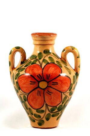 Ceramic pot with flower painting over white Stock Photo