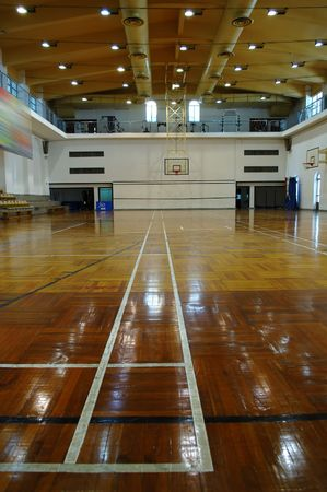 college basketball: A perspective view of basketball court Stock Photo