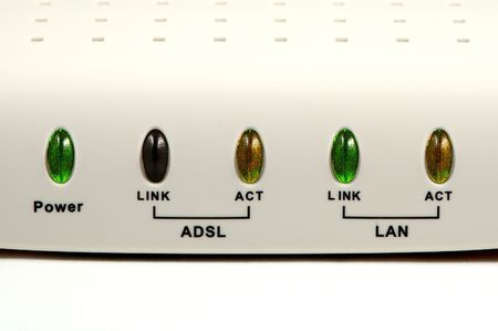 leds: Cable (broadband) modem with leds status over white