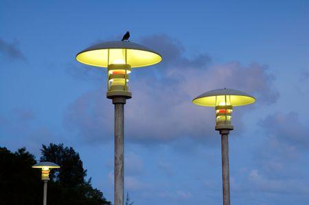 moderm: The moderm street lamps over blue sky