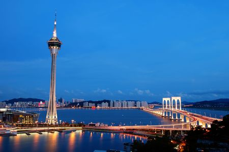 The night view of Macau Tower Convention and Sai Van bridge