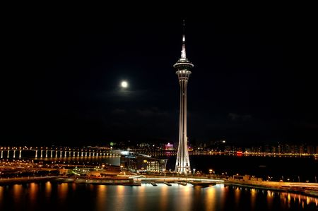 The night view of Macau Tower Convention and Sai Van bridge