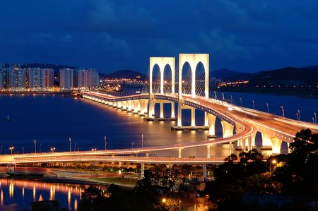 The night scenery of bridge in Macau photo