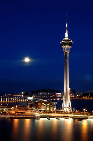 The night scene of  Tower Convention and Entertainment Center, Macau