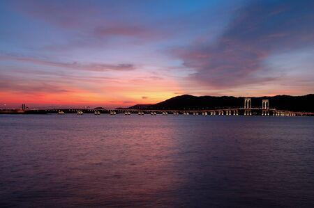 The evening of Macau city viewing from Taipa island photo