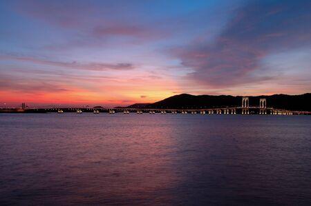 The evening of Macau city viewing from Taipa island photo