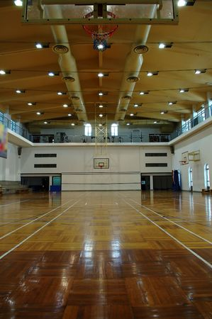 A perspective view of basketball court Stock Photo