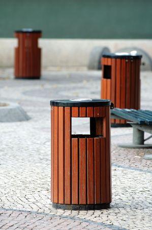 Three wooden litter bins in public area Stock Photo - 1355960