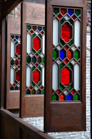 handicrafts: The column of windows of a historic Chinese house