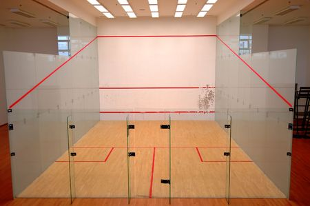racket stadium: The squash court formed with glass wall