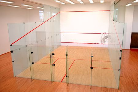 formed: The squash court formed with glass wall