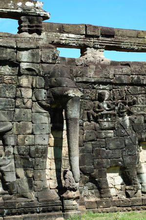 cambodia sculpture: Sculptured statue at Terrace of the Elephant, Cambodia Stock Photo