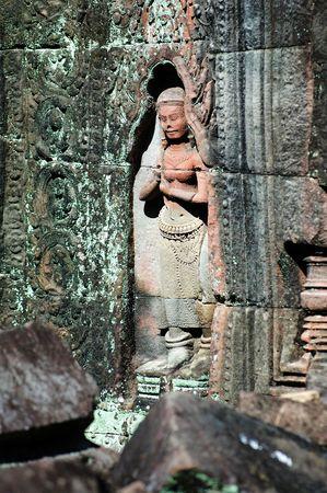 cambodia sculpture: Statue carving on mandapa, Siem Reap, Cambodia