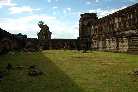 cambodia sculpture: Ruin temple at Angkor Wat, Siem Reap, Cambodia Stock Photo