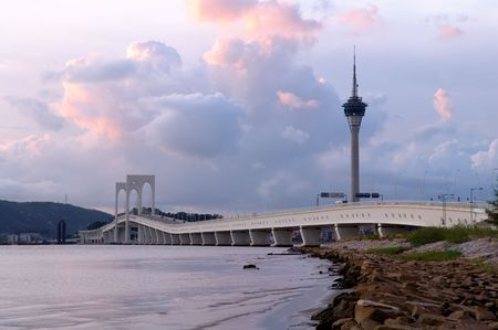 The picture of bridge and tower of Macau