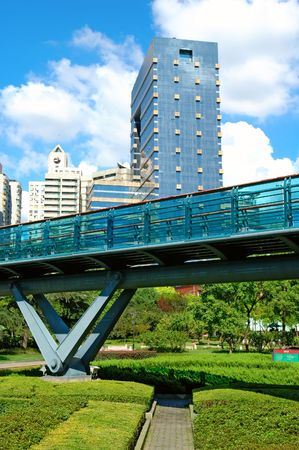 overbridge: The view of overbridge over the background of skyscrapers