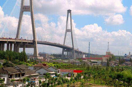 pu: The panorama of Xu Pu bridge in Shanghai, China Stock Photo