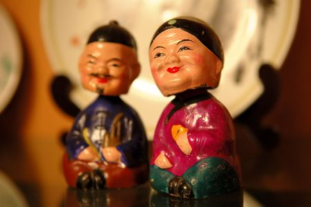 The close up of Chinese old couple figurines Stock Photo - 2305520