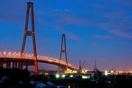 The panorama of Xu Pu bridge at night in Shanghai, China photo