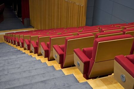 functional: Rows of seats of a theater or functional hall Stock Photo