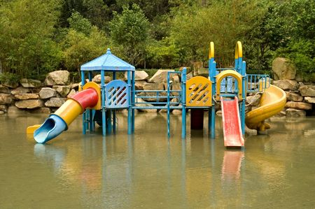aqua park: A colorful children playground on water park