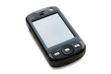 touchtone: The pocket computer isolated over white background