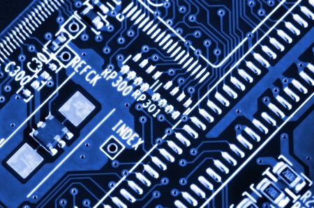 superconductor: Details of electronic circuit board in blue tone
