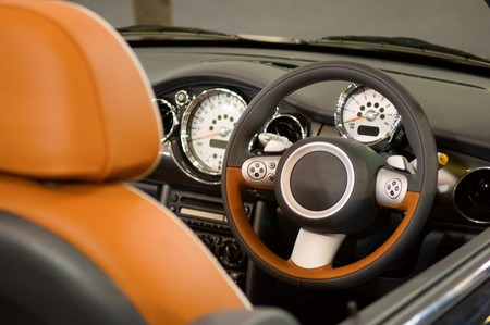 The view of the interior of luxury car