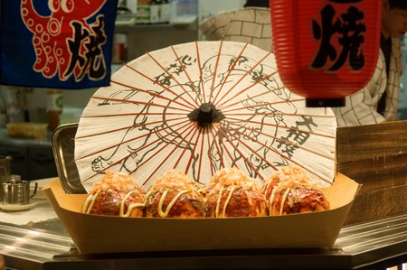 Giant Japanese fired octopus ball displayed at traditional restaurant
