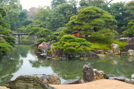 ponte giapponese: Bellissimo giardino giapponese con alberi e stagno