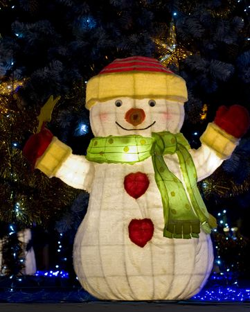 Declarations of illuminated snowman for Christmas photo