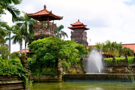 The exteriro ornaments of carving and fountain Stock Photo