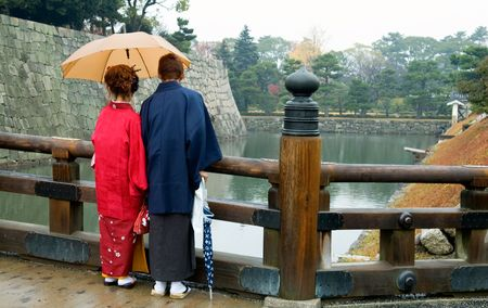 The back view of Japanese couple dressing traditional Kimono photo