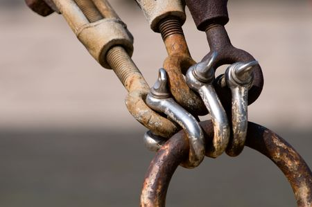 The close up of rusty shackles and chains photo