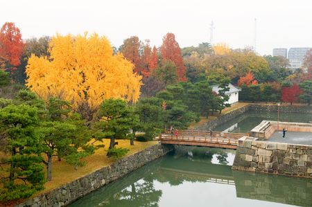 nijo: The panorama of Nijo Castle moat and garden, in Kyoto city Editorial