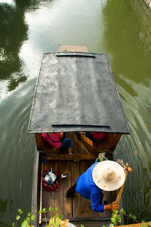 zhouzhuang: The aerial view of boat man rowing on river Stock Photo