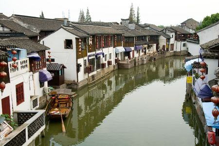boatman: The aerial view of water town in China Stock Photo